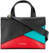 Emporio Armani colour block tote - women - Cotton/Leather - One Size