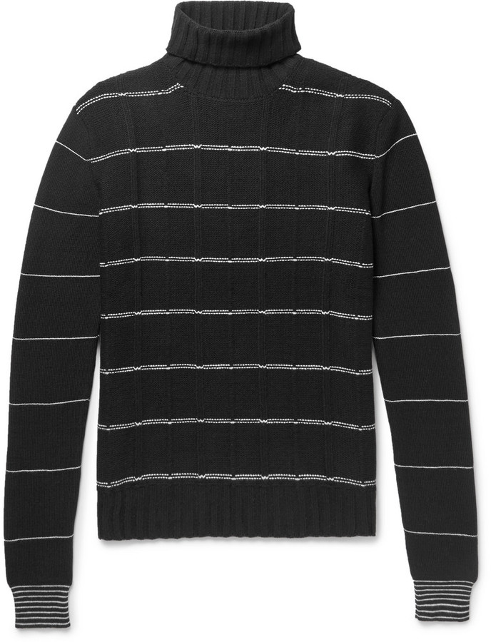 McQ Striped Wool and Cashmere-Blend Rollneck Sweater