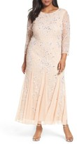 Pisarro Nights Plus Size Women's Embellished Three Quarter Sleeve Gown
