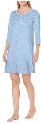 Carole Hochman Soft Jersey 3/4 Sleeve Sleepshirt (Blue Ground Floral) Women's Pajama