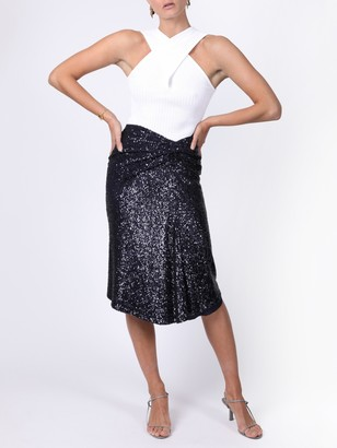Sies Marjan Navy Sequin Wrap Skirt