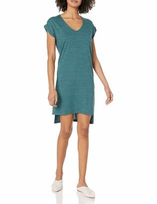 Alternative Women's Eco Jersey Yarn Dye Stripe Escapade Dress Coastal Teal Olive Seaside X-Small