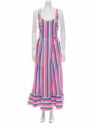 STAUD Striped Long Dress Pink
