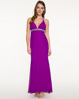 Le Château Chiffon V-Neck Embellished Gown