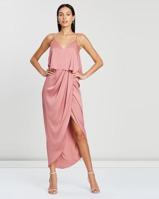 Shona Joy Luxe Draped Cocktail Frill Dress