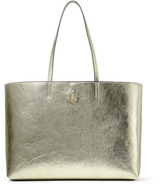Jimmy Choo NINE2FIVE E/W Metallic Gold Distressed Fabric Tote Bag with JC Logo
