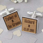 Rocket and Fox Personalised Wooden Cufflinks Top Hat
