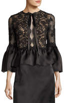 Marchesa Corded Lace Satin Peplum Top