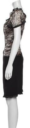Blumarine Silk Mini Dress Black