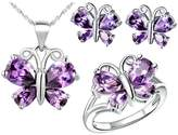 Babao Jewelry Jewelry Sets Babao Jewelry Purple Butterfly 18K Platinum Plated Cubic Zirconia Crystals Pendant Necklace Earrings Set with 925 Sterling Silver Necklace Ring Size 9