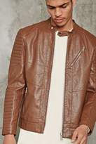 21men 21 MEN Ribbed Faux Leather Jacket