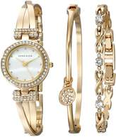 Anne Klein Women's AK/1868GBST Swarovski Crystal Accented -Tone Bangle Watch and Bracelet Set