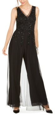 Adrianna Papell Sequined Georgette Wide-Leg Jumpsuit