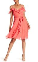 Tahari Polka Dot Cold-Shoulder Dress