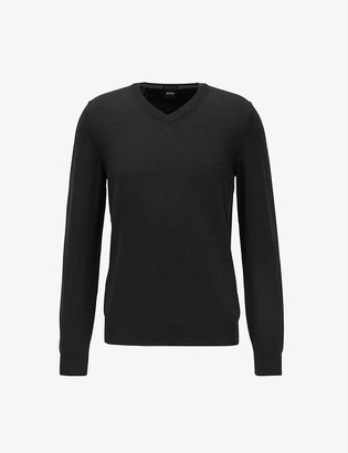 HUGO BOSS V-neck cotton-blend jumper