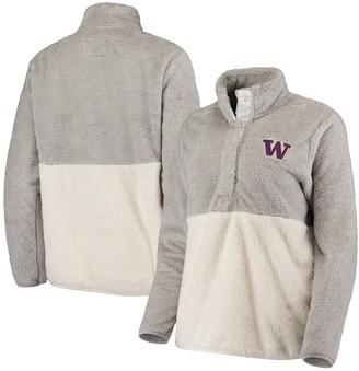 Women's Gray Washington Huskies Fuzzy Fleece Colorblock Quarter-Snap Pullover Jacket