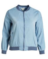Blu Pepper Denim Blue Contrast-Trim Varsity Jacket - Plus