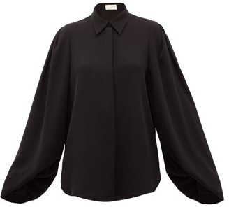 Sara Battaglia Balloon-sleeve Cady Blouse - Womens - Black
