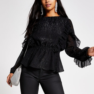 River Island Petite black long sleeve ruffle blouse