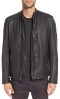 John Varvatos Men's Black Leather Racer Jacket