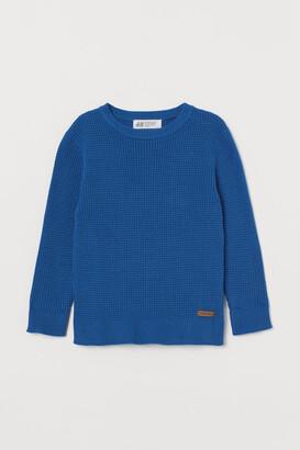 H&M Waffle-knit Sweater - Blue