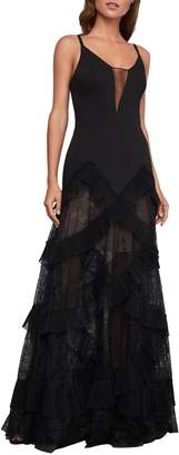 BCBGMAXAZRIA Avaline Pleated Lace Gown