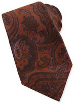 Kiton Paisley Wool/Silk Tie, Brown/Purple