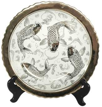 Sagebrook Home Ceramic Plate With Stand, Koi White/Gold