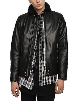 Diesel L-Shiro-Wh Leather Jacket
