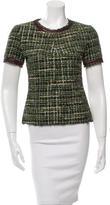 Marissa Webb Tweed Leather-Trimmed Top