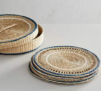 Pottery Barn Blue Rim Woven Seagrass Placemats, Set of 6