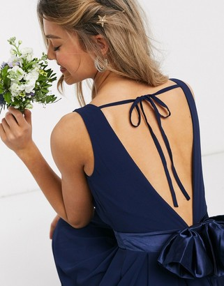 TFNC Bridesmaids wrap front bow back maxi dress in navy