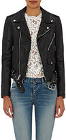 Saint Laurent Women's Dome-Studded Leather Moto Jacket-BLACK