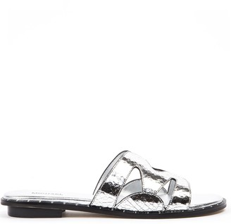 MICHAEL Michael Kors Silver Annalee Textured Metallic Leather Slide