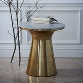 west elm Marble Topped Pedestal Side Table - White Marble/Antique Brass