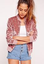 Missguided Velvet Bomber Jacket Pink