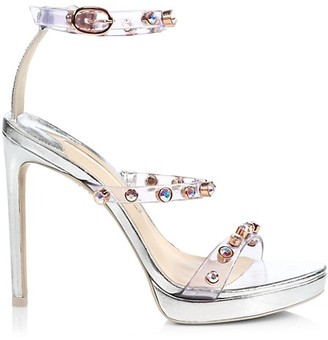 Sophia Webster Rosalind Embellished Vinyl & Metallic Leather Platform Sandals