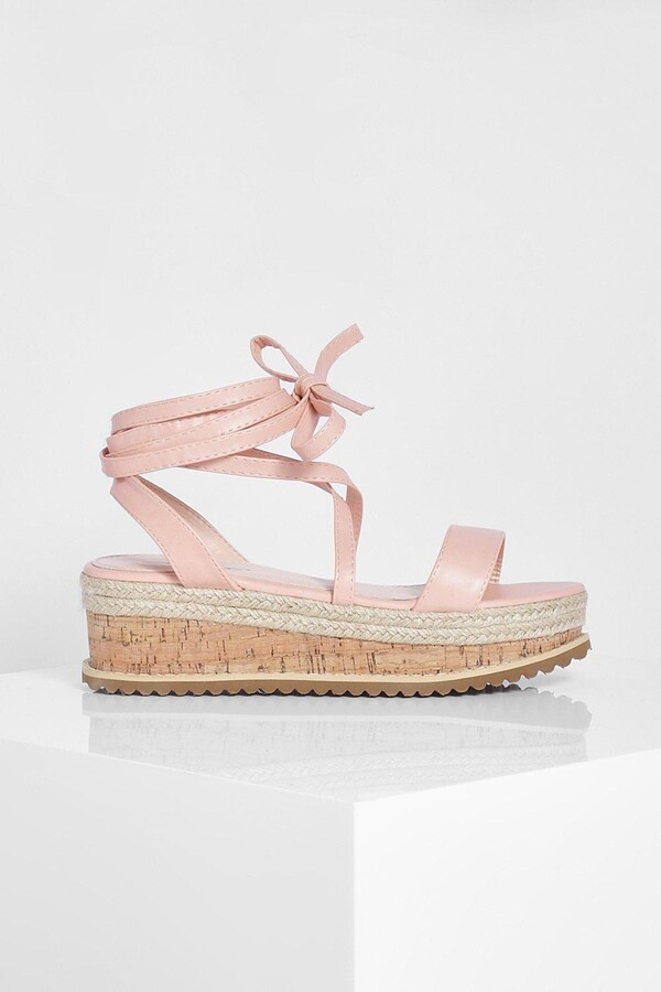 Thumbnail for your product : boohoo Flatform Espadrille Tie Up Sandals