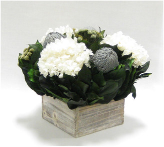 Bougainvillea Banksia & Hydrangea In Short Wooden Square Container