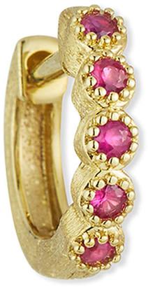 Jude Frances 18K Petite Pink Sapphire Bezel Hoop Earring, Single