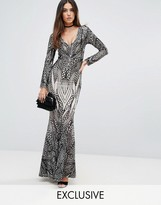 Club L Placement Sequin Maxi Dress