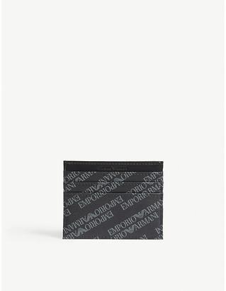 Emporio Armani Logo leather card holder