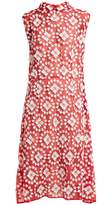 Miu Miu Floral-embroidered appliqué cotton-blend dress