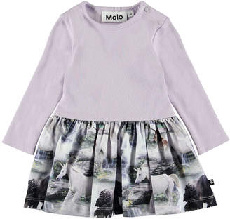 Molo Carel Long-Sleeve Ribbed Dress w/ Horse Print Skirt, Size 6-24 Months