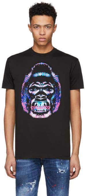 DSQUARED2 Black Laminated Crack Gorilla Long Cool T-Shirt
