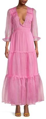 LoveShackFancy Stormi Wrapped Silk Chiffon Maxi Dress