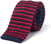 Gibson Navy And Red Stripe Knit Tie