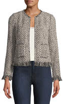 Rebecca Taylor Zip-Front Tweed Jacket with Fringe