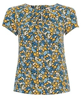 Dorothy Perkins Womens **Billie & Blossom Petite Blue And Yellow Floral Print Shell Top, Blue