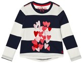 Joules Navy Stripe Heart Print and Applique Long Sleeve Tee